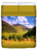 Peaceful Sunny Day In Mountains. Rest And Be Thankful. Scotland Duvet Cover by Jenny Rainbow
