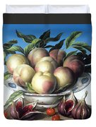 Peaches In Delft Bowl With Purple Figs Duvet Cover by Amelia Kleiser
