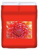 Peachy Dahlia Duvet Cover by Kathy Yates
