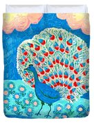 Peacock And Lily Pond Duvet Cover by Sushila Burgess