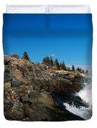 Pemaquid Point Lighthouse - seascape landscape rocky coast Maine Duvet Cover by Jon Holiday