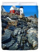 Pemaquid Point Lighthouse Reflection - seascape landscape rocky coast Maine Duvet Cover by Jon Holiday