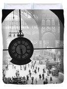 Penn Station Clock Duvet Cover by Van D Bucher and Photo Researchers