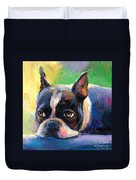 Pensive Boston Terrier Dog Painting Duvet Cover by Svetlana Novikova