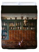 Pharmacy - Right Behind The Counter Duvet Cover by Mike Savad