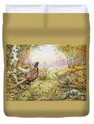 Pheasants In Woodland Duvet Cover by Carl Donner