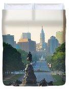 Philadelphia Benjamin Franklin Parkway Duvet Cover by Bill Cannon