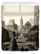Philadelphia Benjamin Franklin Parkway in Sepia Duvet Cover by Bill Cannon