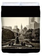 Philadelphia Benjamin Franklin Parkway In Sepia Duvet Cover by Bill Cannon
