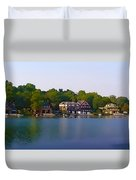 Philadelphia Boat House Row Duvet Cover by Bill Cannon