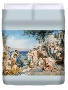Phryne At The Festival Of Poseidon In Eleusin Duvet Cover by Henryk Siemieradzki