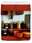 Pickles Beans and Jellies Duvet Cover by Susan Savad
