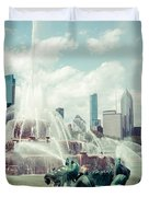 Picture of Buckingham Fountain with Chicago Skyline Duvet Cover by Paul Velgos