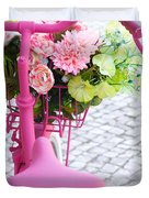 Pink Bike Duvet Cover by Carlos Caetano