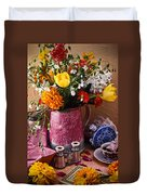 Pitcher Of Flowers Still Life Duvet Cover by Garry Gay