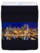 Pittsburgh Pennsylvania Skyline At Night Panorama Duvet Cover by Jon Holiday