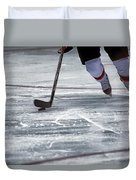 Player And Puck Duvet Cover by Karol Livote