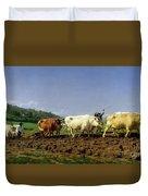 Ploughing In Nivernais Duvet Cover by Rosa Bonheur
