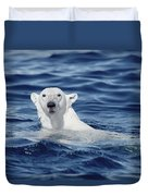 Polar Bear Swimming Baffin Island Canada Duvet Cover by Flip Nicklin