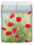 Poppies And Mayweed Duvet Cover by John Gubbins