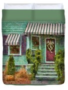 Porch - Westfield Nj - Welcome Friends Duvet Cover by Mike Savad