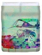 Porsche 911 Watercolor 2 Duvet Cover by Naxart Studio