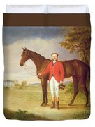 Portrait Of A Gentleman With His Horse Duvet Cover by English School