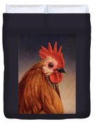 Portrait Of A Rooster Duvet Cover by James W Johnson