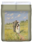 Portrait Of Captain William Holmes And Mary Shafter Mckitterick Duvet Cover by American School