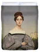 Portrait Of Louise Vernet Duvet Cover by Emile Jean Horace Vernet