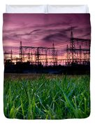 Power Lines Sunset Duvet Cover by Cale Best