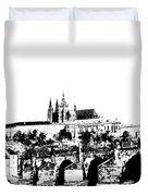 Prague castle and Charles bridge Duvet Cover by Michal Boubin