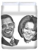 President And First Lady Obama Duvet Cover by Murphy Elliott