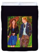 Prince William And Kate The Young Royals Duvet Cover by Carole Spandau