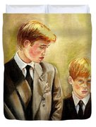 Prince William And Prince Harry Duvet Cover by Carole Spandau