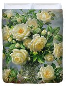 Princess Diana Roses in a Cut Glass Vase Duvet Cover by Albert Williams