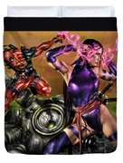 Psylocke And Deadpool Duvet Cover by Pete Tapang