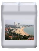 Qingdao Beach With Skyline Duvet Cover by Carol Groenen
