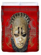 Queen Mother Idia - Ivory Hip Pendant Mask - Nigeria - Edo Peoples - Court Of Benin On Red Leather Duvet Cover by Serge Averbukh