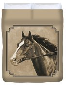 Racehorse Painting In Sepia Duvet Cover by Crista Forest