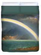Rainbow Over Jenny Lake Wyoming Duvet Cover by Albert Bierstadt
