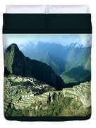 Rainbow Over Machu Picchu Duvet Cover by James Brunker