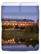 Rangers Ballpark In Arlington At Dusk Duvet Cover by Jon Holiday