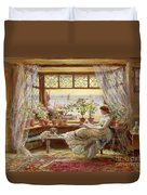 Reading By The Window Duvet Cover by Charles James Lewis