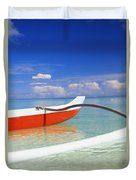 Red And White Canoe Duvet Cover by Dana Edmunds - Printscapes