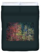 Red And Yellow Leaves Abstract Horizontal Number 1 Duvet Cover by Heather Kirk