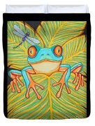 Red Eyed Tree Frog And Dragonfly Duvet Cover by Nick Gustafson
