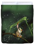 Red-eyed Tree Frog In The Rain Duvet Cover by Michael Durham