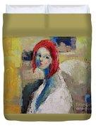 Red Haired Girl Duvet Cover by Becky Kim