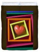 Red Heart In Box Duvet Cover by Garry Gay